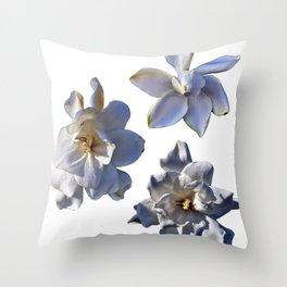 3 White Gardenias [Cecilia Lee] Throw Pillow