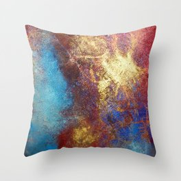 Philip Bowman Red, Blue And Gold Modern Abstract Art Painting Throw Pillow