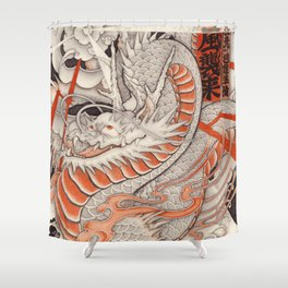 Japanese tattoo Typhoon dragon Shower Curtain