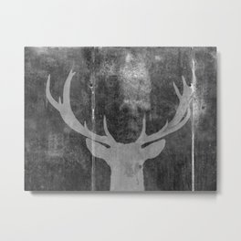 Industrial Deer Animal on Grey Cement Art A313 Metal Print