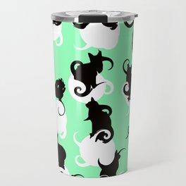 Tea Time Cat Swirls Travel Mug