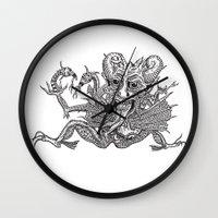 satan Wall Clocks featuring SaTaN by Kurz Daniel