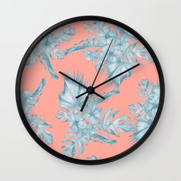 Dreaming of Hawaii Pale Teal Blue on Coral Pink Wall Clock