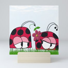 Ladybug Wooing His New Love Mini Art Print