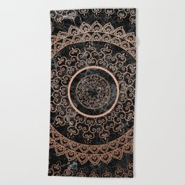 Mandala - rose gold and black marble Beach Towel