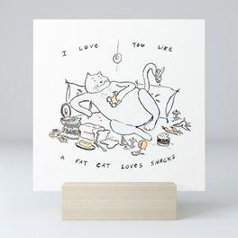 Fat Cat Loves Snacks Mini Art Print