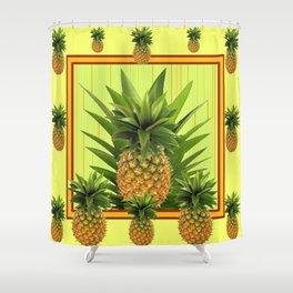 MODERN GREEN-YELLOW  HAWAIIAN PINEAPPLE ART Shower Curtain