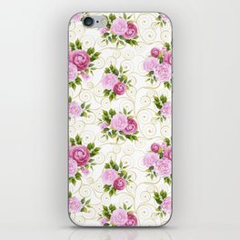 Elegant pink lavender green watercolor floral swirls pattern iPhone Skin