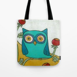 Turquoise Owl and Poppies Tote Bag