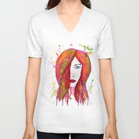 valentina V-neck T-shirts featuring Valentina by Laurie Art Gallery