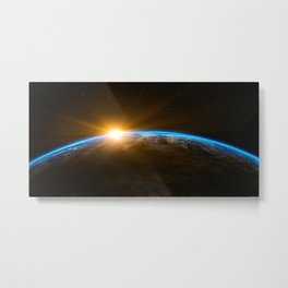 Sunrise over the Earth from Space Metal Print
