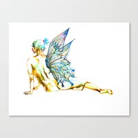 tinker bell Canvas Prints featuring Tinker Bell with one wing by Chien-Yu Peng