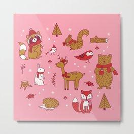 Winter Woodlands - Pink Metal Print