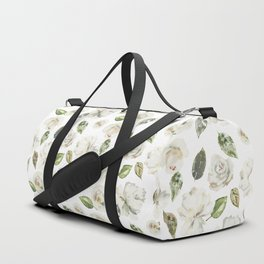 Green brown white watercolor modern floral leaves Duffle Bag