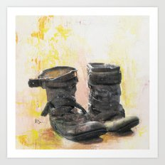 Boots in the Hall - Boots drying by the Fire in Winter Art Print