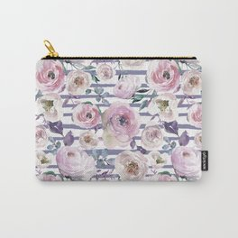 Violet blush pink lilac watercolor floral stripes Carry-All Pouch