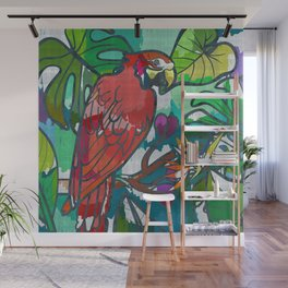Red parrot macaw tropical print Wall Mural