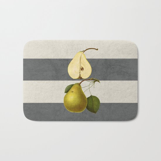 botanical stripes - pear Bath Mat