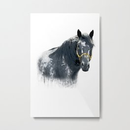 Horse with Golden Bridle Metal Print