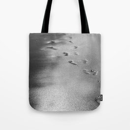 Steps on the wet sands, beach, nautical, holiday Tote Bag