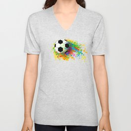 Football soccer sports colorful graphic design Unisex V-Neck
