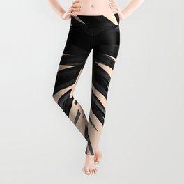 Black Palms on Pale Pink Leggings