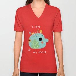I Love My World Unisex V-Neck