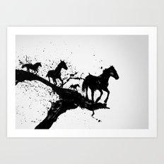 Liquid horses Art Print