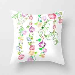 Floral Abstract on White Background Throw Pillow