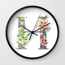 Floral Monogram Collection H Wall Clock