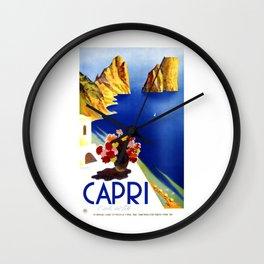 1952 Capri Italy Travel Poster Wall Clock