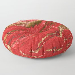 Red and Gold Marble Abstract Design Floor Pillow