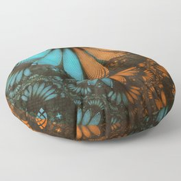 Shikoba Fractal -- Beautiful Leather, Feathers, and Turquoise Floor Pillow