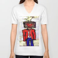 suit V-neck T-shirts featuring Suit by Keith Cameron