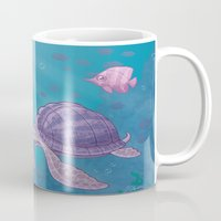 sea turtle Mugs featuring Sea Turtle by John Schwegel