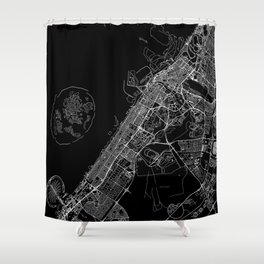 Dubai Black Map Shower Curtain