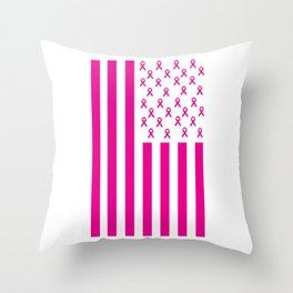 Pink Ribbon American Flag Breast Cancer Awareness Throw Pillow