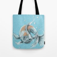 koi fish Tote Bags featuring Koi Fish by Daydreamer