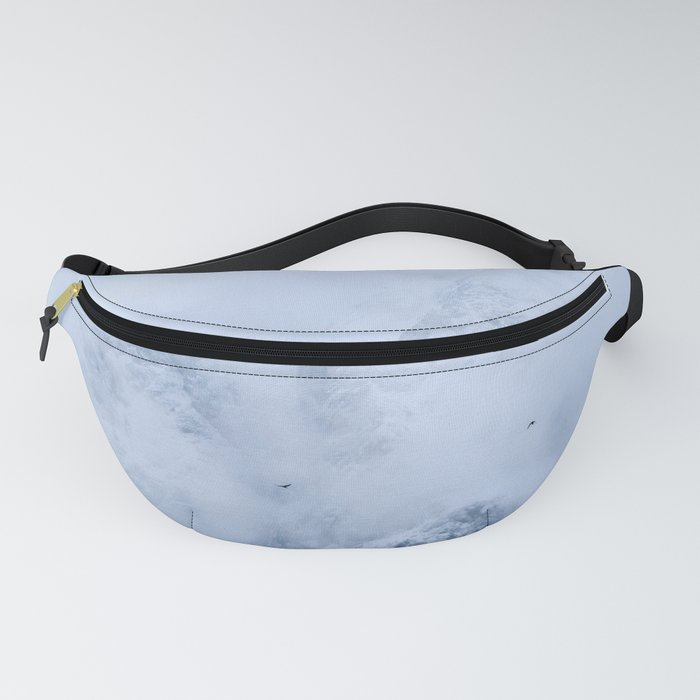 Ravens, snowy mountains and clouds Fanny Pack