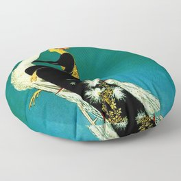 Vintage 1920's Jazz Age Flapper with White Peacock Poster Floor Pillow
