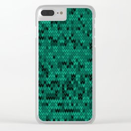 Green knitted textiles Clear iPhone Case