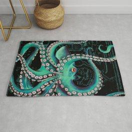 Teal Octopus Watercolor Vintage Map Dance Rug