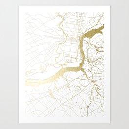 Philidelphia - White and Gold Art Print