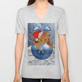 Christmas Cat Unisex V-Neck