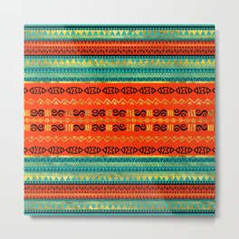 Ethnic Tribal Pattern Gold Orange and Teal Metal Print