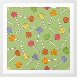 Happy Lollipops Sugar Candy Green Background Art Print