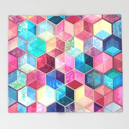 Topaz & Ruby Crystal Honeycomb Cubes Throw Blanket