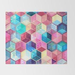 Topaz & Ruby Crystal Honeycomb Cubes Throw Blanket