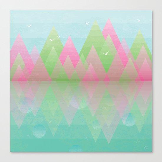 Geometric Lake Mountain I - Spring Canvas Print