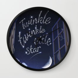 Twinkle Twinkle Little Star - Nursery Rhyme Inspired Art Wall Clock